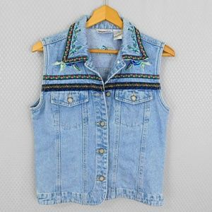 Bill Blass Jean Vest with Floral Accents